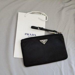 PRADA Tessuto Nylon Saffiano Leather Wristlet